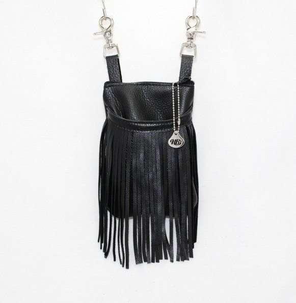 black leather hip bag