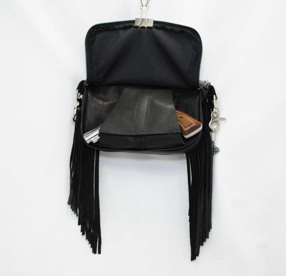concealed carry purse side fringe black
